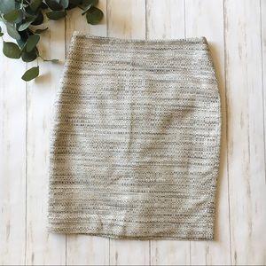 Ann Taylor Gray Tweed Cross Weave Pencil Skirt